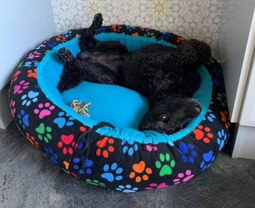 Mysbubbla 20 är en rund hundbädd med tassar som mönster. Går att få i olika storlekar. Vi skickar i hela landet mot en fraktavgift
