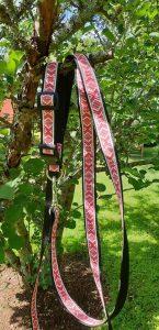 Rött koppel med daladekor som mönster med ställbart hudhalsband